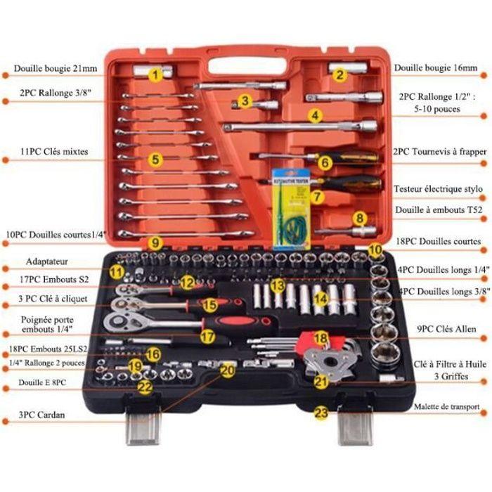 Jeu de 121 pièces Coffret de Douilles Clés mixtes Clés à Cliquet pour Réparation Voiture Auto Mécanique avec Malette