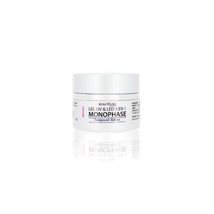 Gel UV & LED 3en1 Medium Transparent anti UV - fini Ongle Brillant, Beautélive
