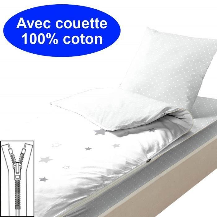 Couchage avec couette 90x140 Aqua Pompons