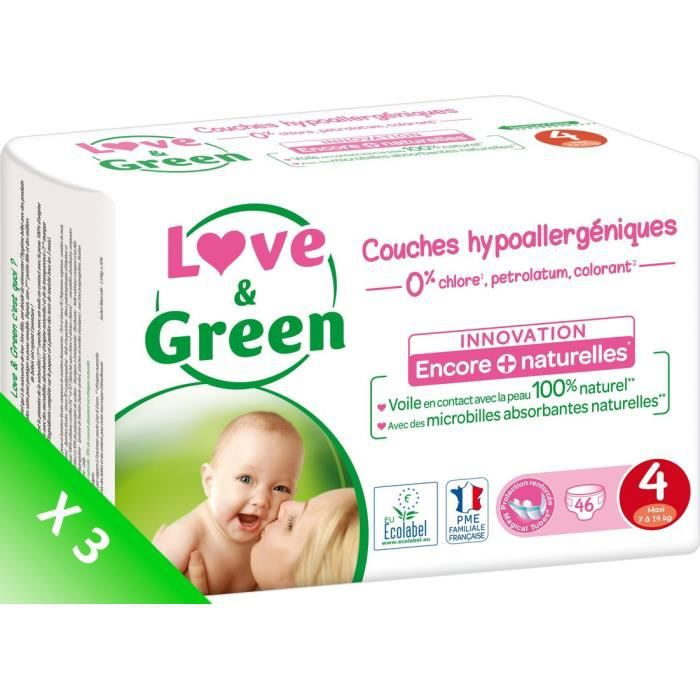 LOVE AND GREEN Couches écolabellisées T4 - 138 couches - Eco Pack
