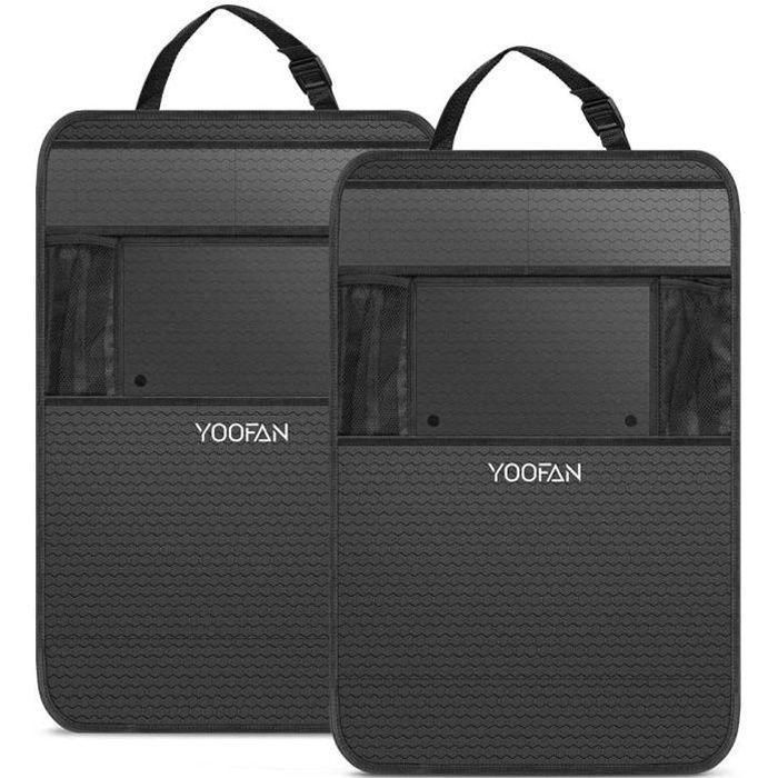 2Pcs Protège Siège Voiture,YOOFAN Imperméable Organisateurs de Voiture Kick Mats,Protection Arrière de Siège Auto Support iPad