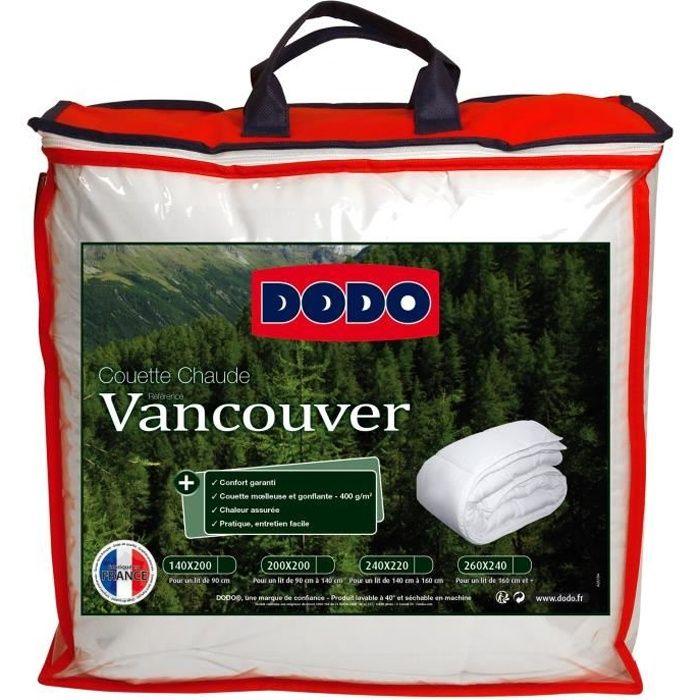 DODO Couette chaude 400gr/m² VANCOUVER 140x200 cm blanc