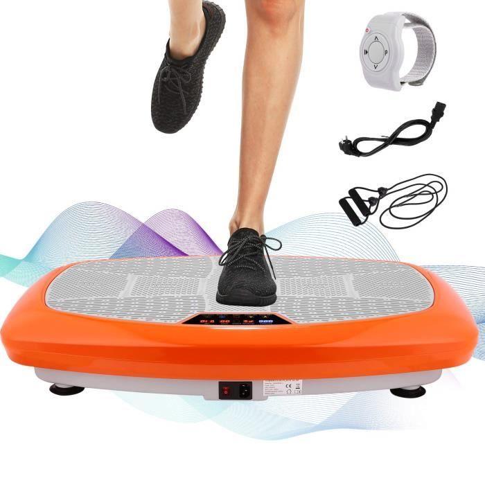 Plateforme Vibrante Fitness 3D Plaque vibrante -30 Niveaux Vitesses élécommande et Sangles d'équilibre incluses, écran LCD-Orange