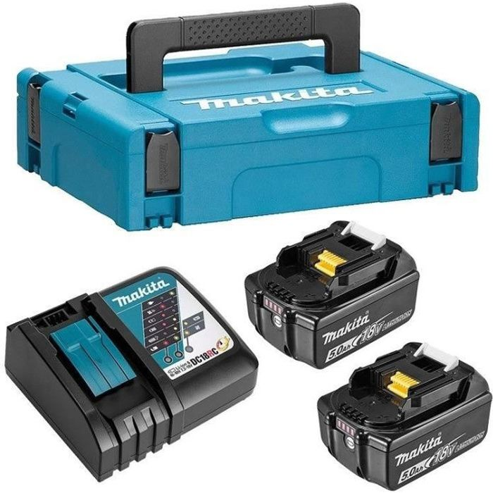 MAKITA Pack energie 18 V Li-ion - 2 batteries (5Ah) + 1 chargeur rapide en coffret Makpac - 197624-2