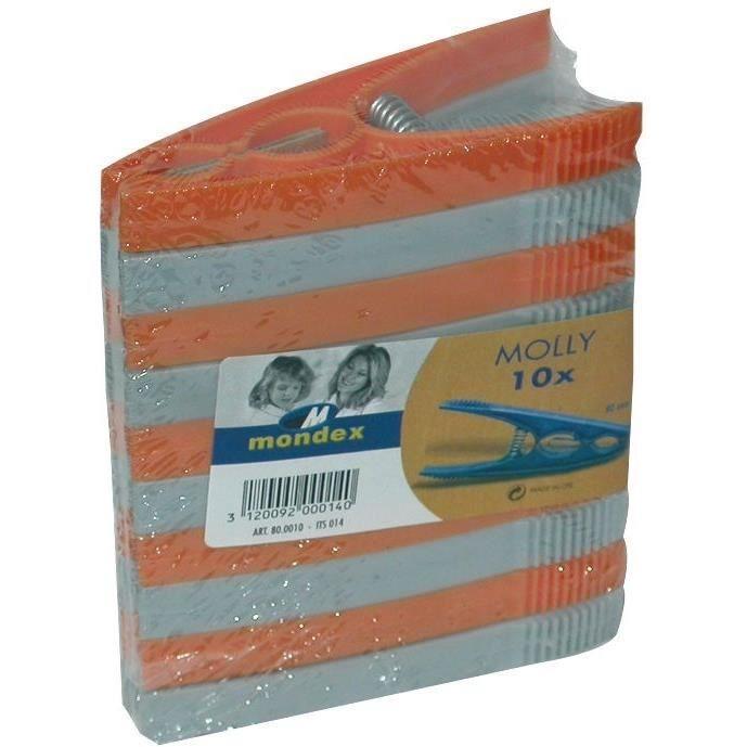 MONDEX - Pince linge plastique sachet 10 grand modèle
