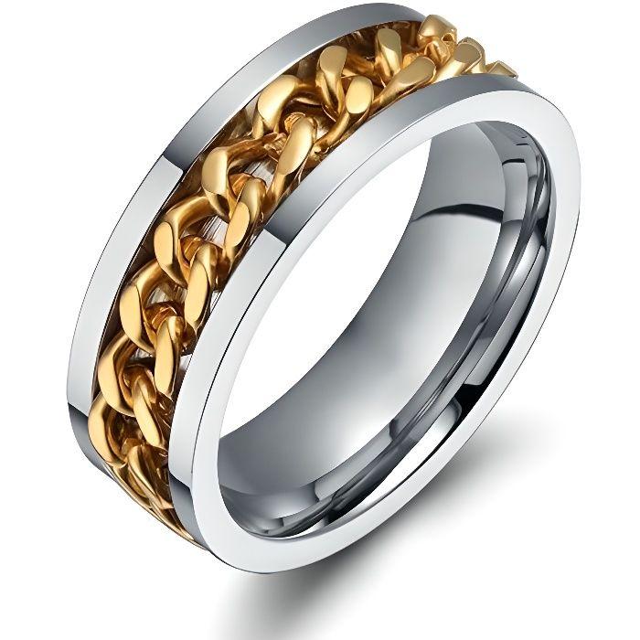 BAGUE FIANCAILLE MARIAGE ANNEAU HOMME FEMME CHAINE ENCHAINEE PLAQUE OR