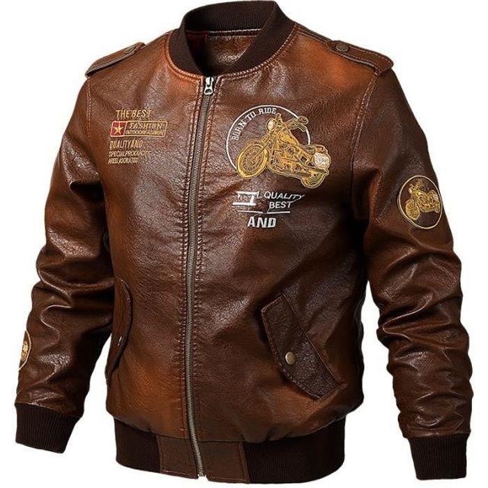 Blouson de moto pour hommes en cuir PU Motocross Racing Blouson