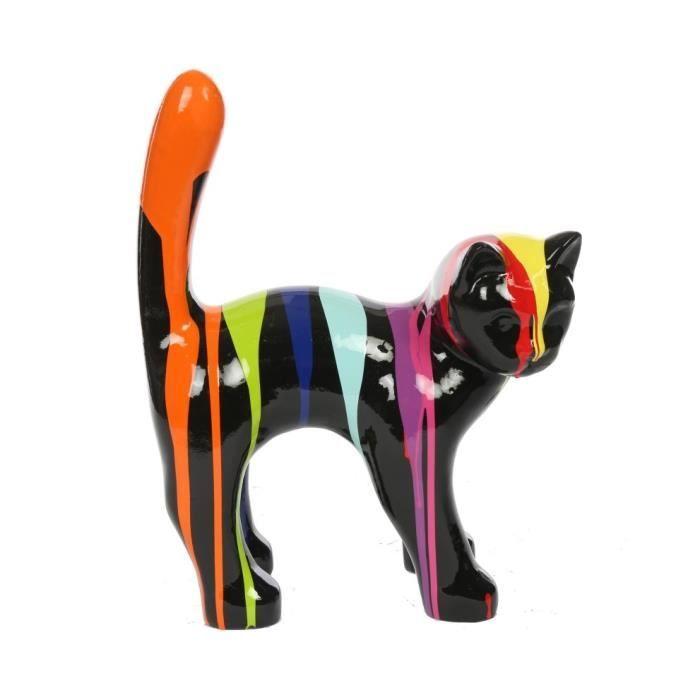 Statue chat en résine que droite multicolore fond noir 35 cm H 35 L 26 l 13 Multicolore