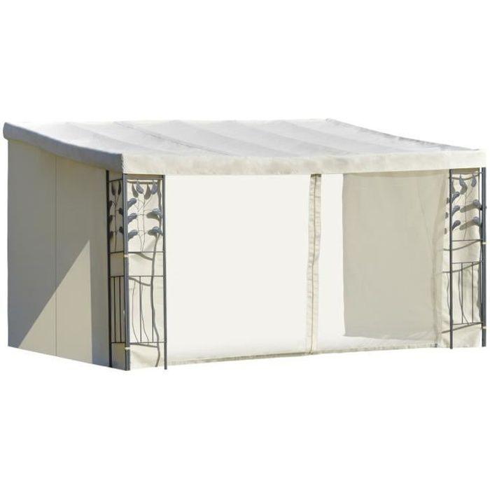 Pergola adossable dim. 4L x 3l x 2,7H m pavillon de jardin toile polyester haute densité moustiquaires crème structure métal époxy g