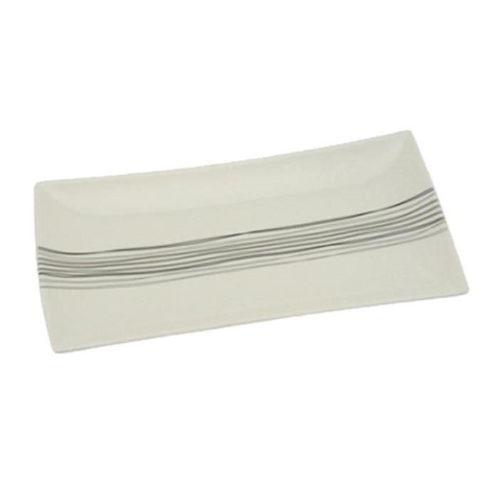 Lot de 6 Assiettes de Présentation Rectangles -Lignes- 31cm Blanc