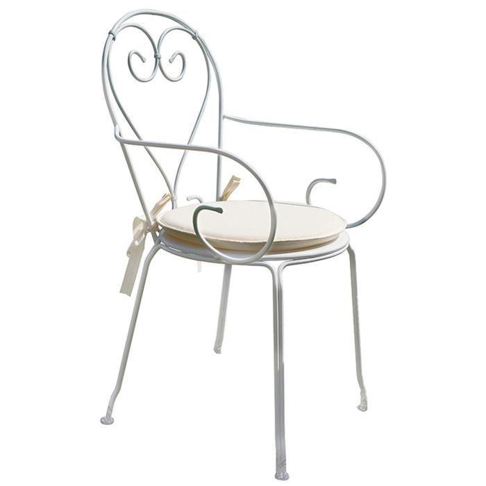 Chaise jardin en fer forgé coloris blanc - Dim : H 90 x L 51 x P 52 cm
