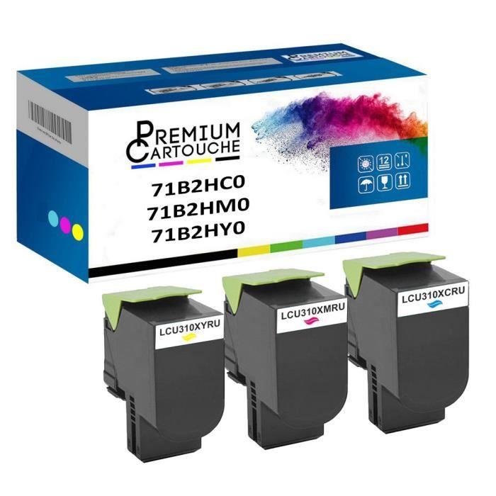 Toner 71B2HC071B2HM071B2HY0 Cyan + Magenta + Jaune Compatible pour Lexmark CS417dn CS517de CX417de CX517de Lexmark CS417dn CS517