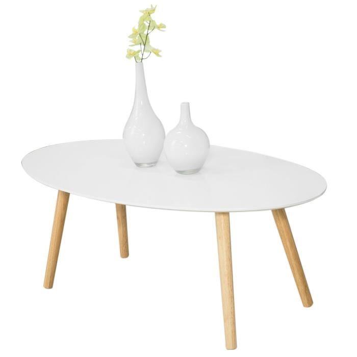 SoBuy® FBT61-W Table Basse Ovale Table d'appoint Design Moderne Table de Salon en Bois