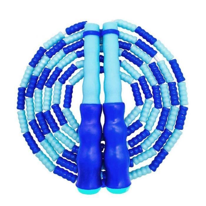Réglable Corde à sauter sans corde à sauter avec perlée doux segment école Fitness exercice (Bleu)