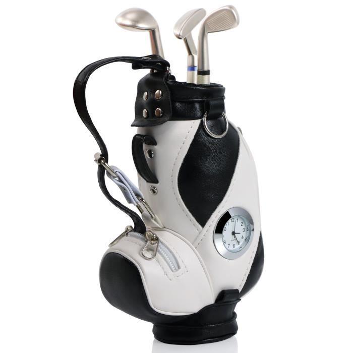 Nouveauté Porte-Stylo en Forme de Sac de Golf avec Stylos en Forme de Clubs de Golf et Horloge