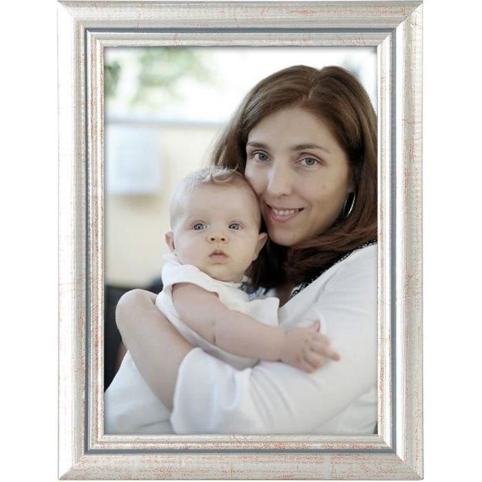 WOLTU Cadre photo en bois et vitre, Cadre photo de style Artos, Façade en verre, 30x45 cm environ, Argent