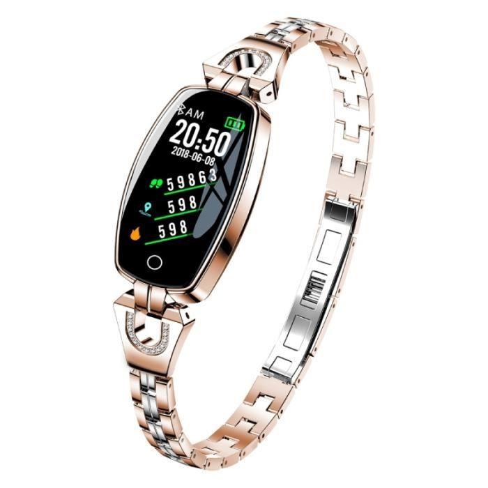 Montre Connectée Femme Android iOS Smartwatch Sport Bluetooth 0.96 Pouce Or - YONIS