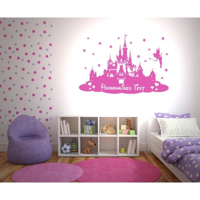 enfants personnalis nom ch teau de princesse b b filles chambre maison decoration art mural. Black Bedroom Furniture Sets. Home Design Ideas