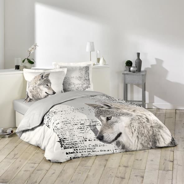 housse de couette 220x240 cm 100 coton loup gris 2 taies achat vente housse de couette. Black Bedroom Furniture Sets. Home Design Ideas