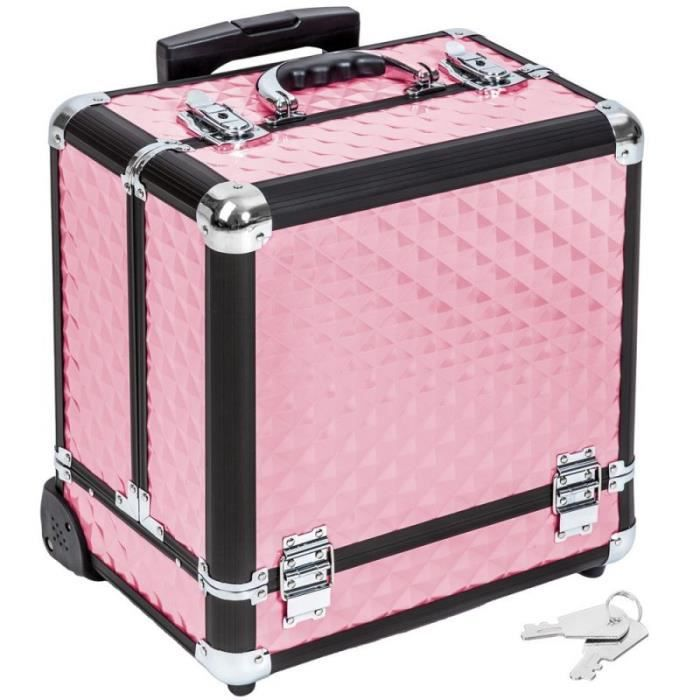 Malette Trolley Valise Esth Tique Coiffure Maquillage Pro Rose 2008057 Achat Vente Valise