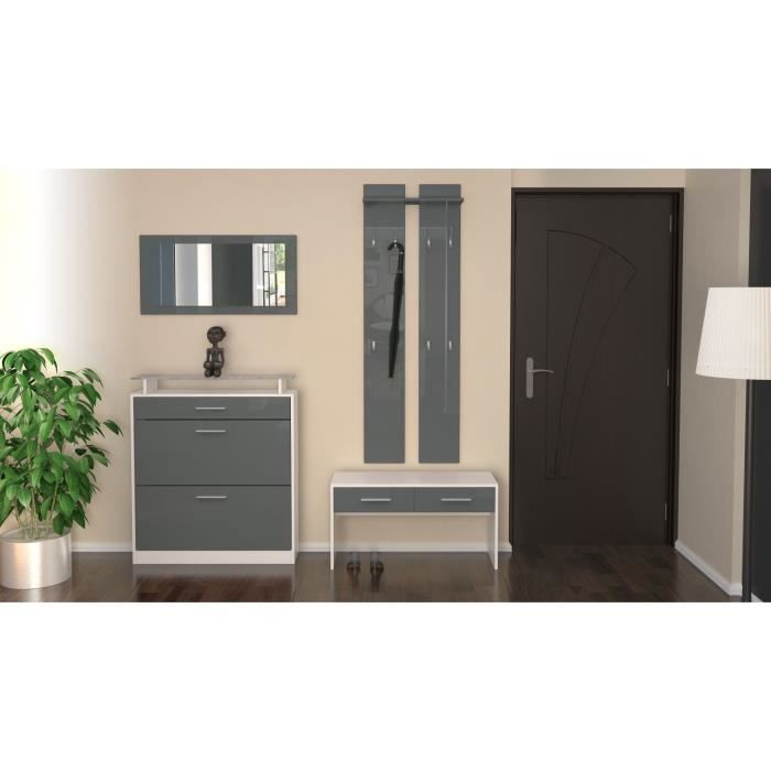 ensemble de meubles d 39 entr e laqu blanc gris achat. Black Bedroom Furniture Sets. Home Design Ideas