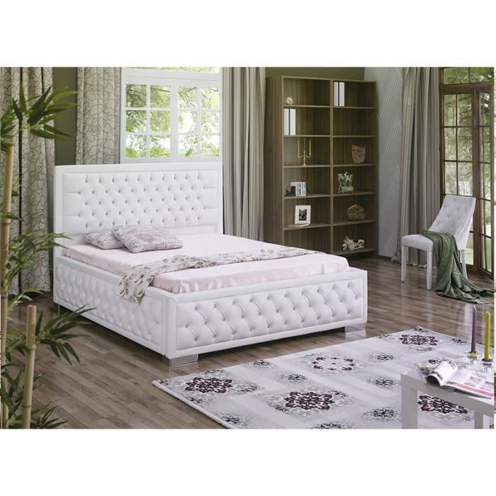 lit coffre capitonn en pu blanc ou noir darling blanc couchage 160x200 cm achat vente. Black Bedroom Furniture Sets. Home Design Ideas