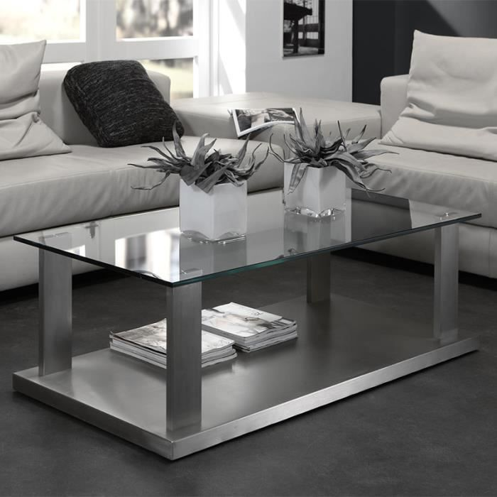 table basse design en verre et inox haze achat vente table basse table basse design en verre. Black Bedroom Furniture Sets. Home Design Ideas