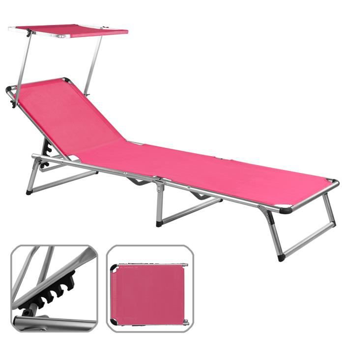 chaise longue de jardin rose pliante aluminium achat. Black Bedroom Furniture Sets. Home Design Ideas