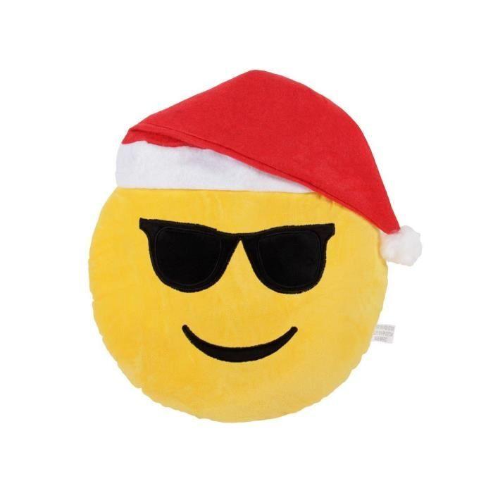 Coussin Emoticon Smiley Emoji Lunette Bonnet De Noel Achat Vente Coussin Cdiscount