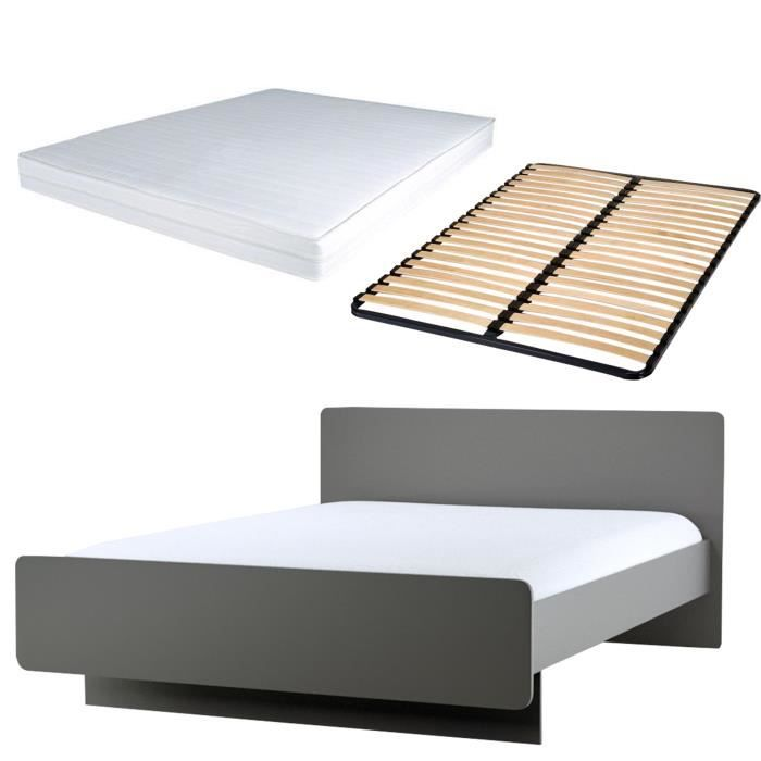ensemble lit complet avec matelas sommier l 140 x l 190 contemporain achat vente lit. Black Bedroom Furniture Sets. Home Design Ideas
