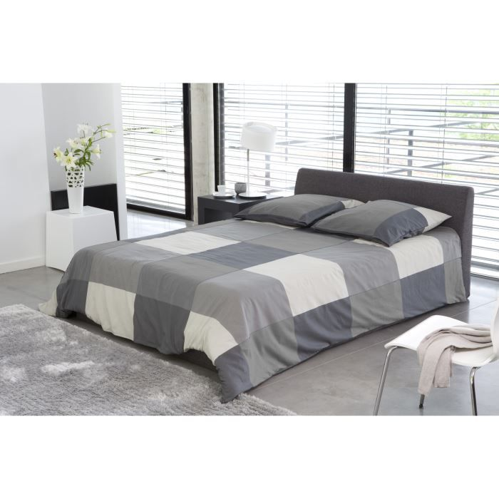 cosmo lit adulte contemporain en bois pin massif et tissu gris t te de lit sommiers. Black Bedroom Furniture Sets. Home Design Ideas