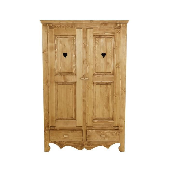 armoire pin massif 2 portes 2 tiroirs oregon achat vente armoire de chambre armoire pin. Black Bedroom Furniture Sets. Home Design Ideas