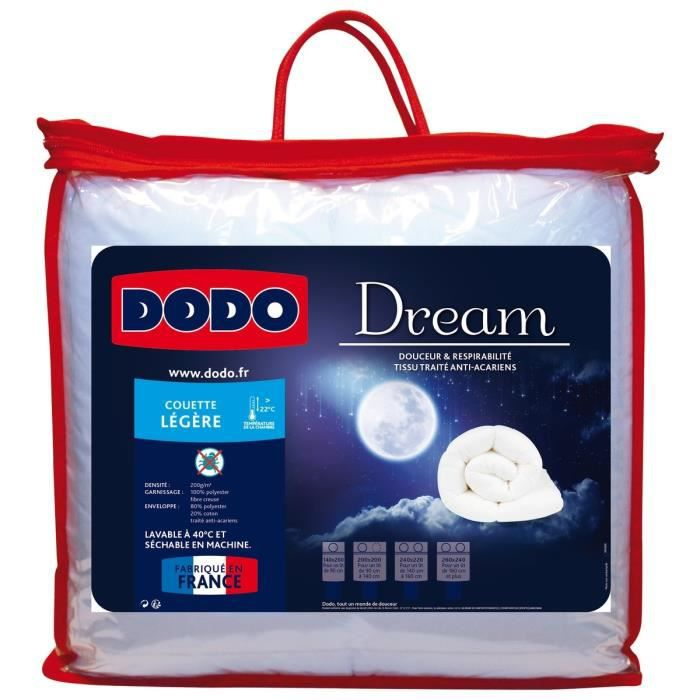 Dodo couette l g re 200 gr m anti acariens dream 140x200 - Couette anti acarien 140x200 ...