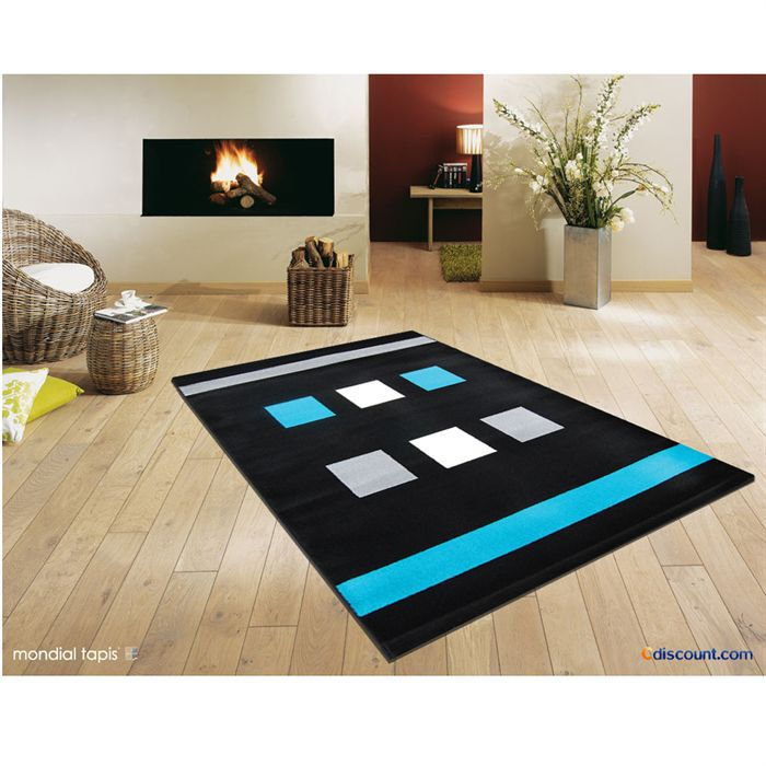 emily tapis 758 noir turquoise 80x140cm achat vente tapis cdiscount. Black Bedroom Furniture Sets. Home Design Ideas