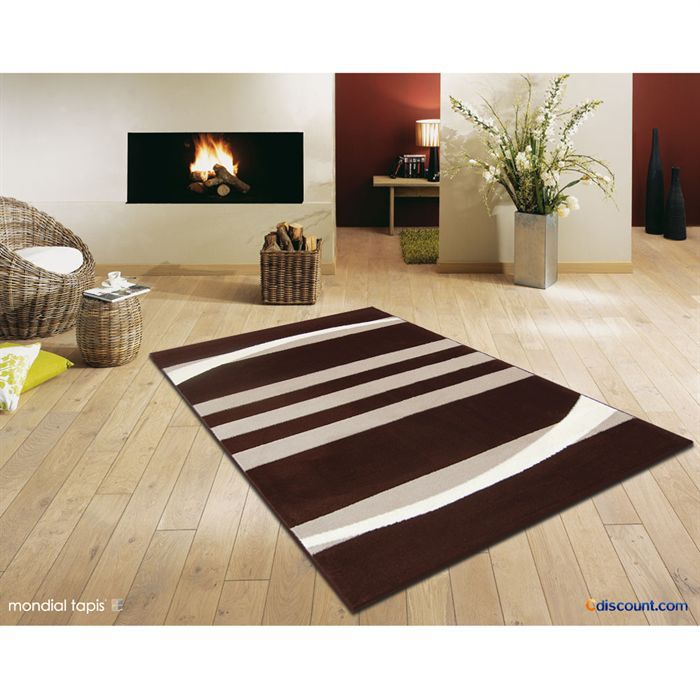 Emejing tapis marron et blanc pictures awesome interior Achat tapis salon