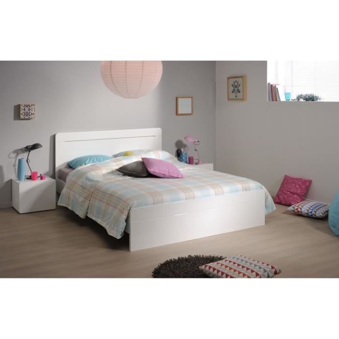 glossy lit adulte 140x190 cm blanc brillant achat. Black Bedroom Furniture Sets. Home Design Ideas