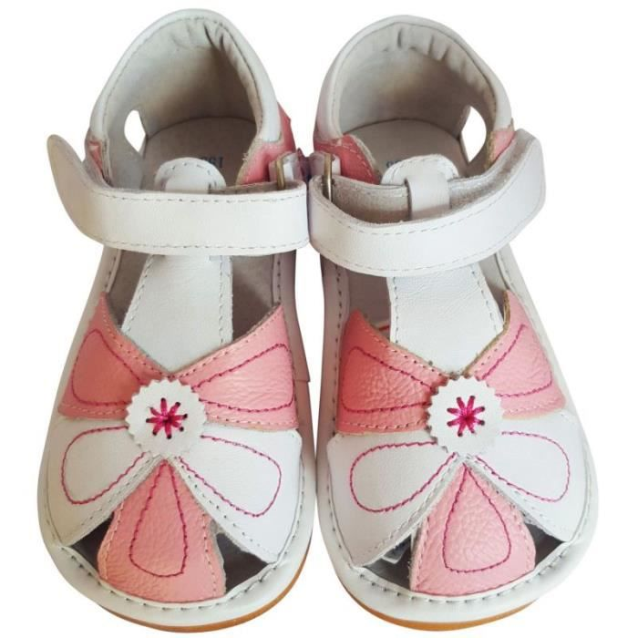 FREYCOO - Chaussures à sifflet | Sandales blanches et rose