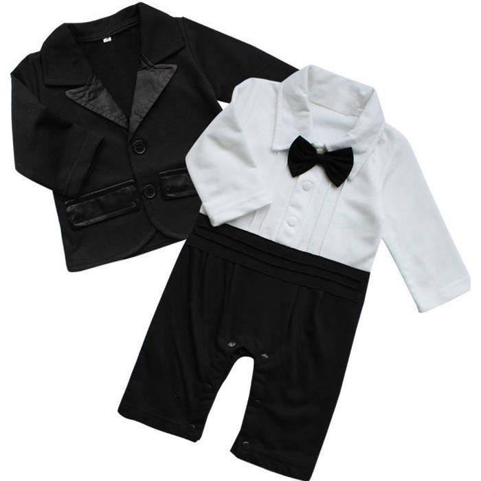 iiniim B/éb/é Gar/çon dhonneur Gentleman Costume de C/ér/émonie Bapt/ême Mariage Anniversaire Combinaison Barboteuse Manches Courtes Cravate Petit Enfant 3-18 Mois