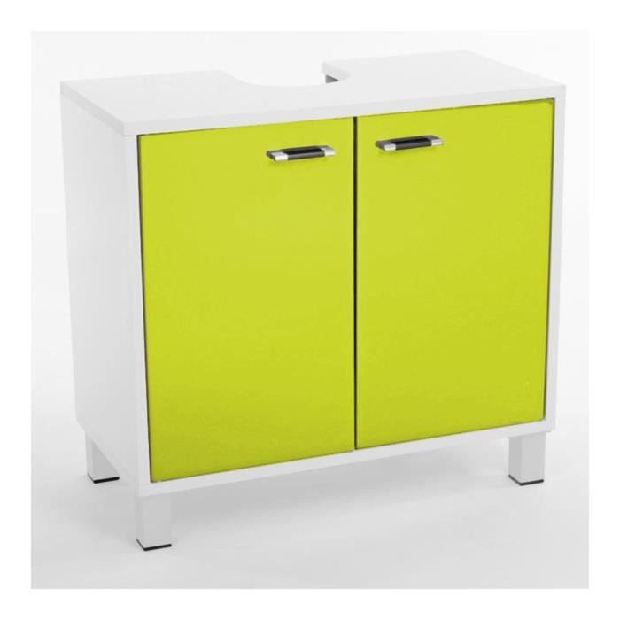 meuble dessous lavabo dinamo en mdf coloris vert et blanc. Black Bedroom Furniture Sets. Home Design Ideas