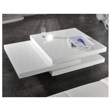 Table basse design saturne blanc laqu xl achat vente for Table basse design solde