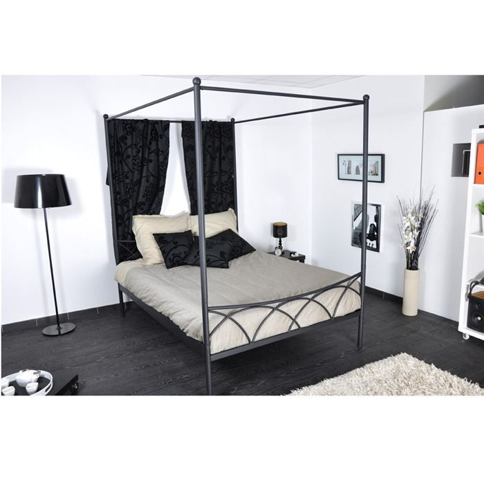 sweet lit baldaquin classique en m tal noir mat l 140 x l 190 cm achat vente structure de. Black Bedroom Furniture Sets. Home Design Ideas