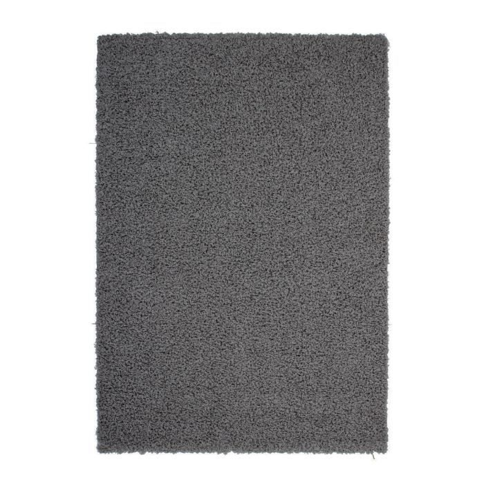 trendy tapis de couloir shaggy gris fonc 80x140 cm achat vente tapis 100 polypropyl ne. Black Bedroom Furniture Sets. Home Design Ideas