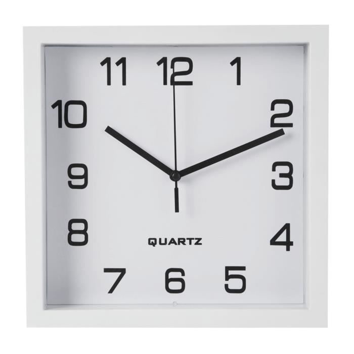 horloge murale carr e blanche 23x23cm achat vente. Black Bedroom Furniture Sets. Home Design Ideas