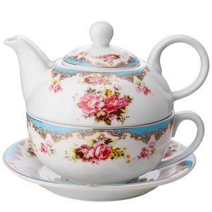CAFETIÈRE - THÉIÈRE Malacasa Porcelaine Théière avec Tasse à Café Sous