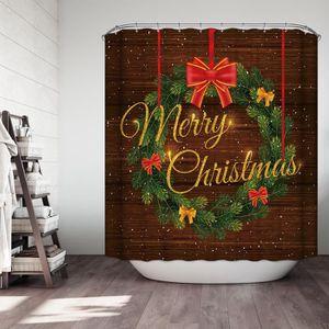 RIDEAU DE DOUCHE Coffrets cadeaux de Noël dans la neige Salle de ba