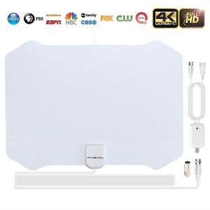 ANTENNE RATEAU Antenne TV Intérieur 4K 1080P 80+ Miles Chaînes Gr