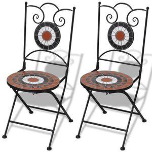 CHAISE 2 pcs Chaises Mosaïques de bistro Chaise de jardin