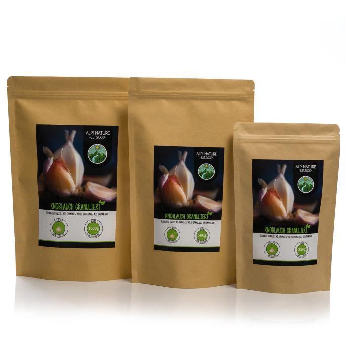 Ail granulé (1kg), ail moulu, 100% naturel à partir d'ail doucement séché, naturellement sans additifs, végétalien