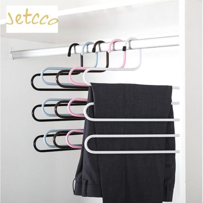 5 couleurs acier inoxydable Multifonction Étagère à pantalons type S Cintre multicouche Pantalon antidérapant à suspendre