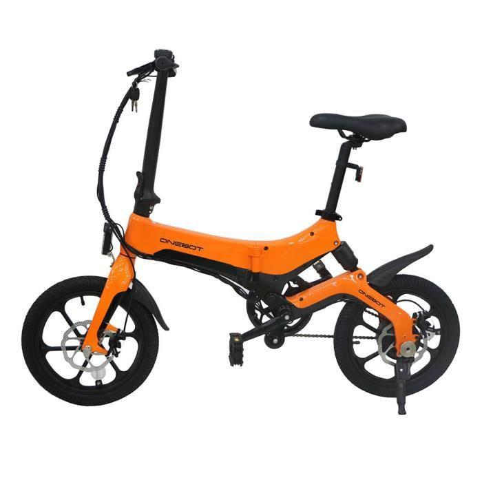 Vélo électrique pliant ONEBOT S6 avec réglage à 3 vitesses, cadre léger en alliage de magnésium, pneus 16 pouces, 25 km/h, orange